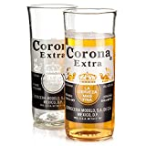 Recycled Corona Extra Beer Bottle Glasses 11.6oz / 330ml - Pack of 2 | Upcycled Corona Beer Bottles, Corona Tumblers, Corona Glasses, Handcrafted Glass - Made in UK - Eco Friendly Gift from Who's Glass