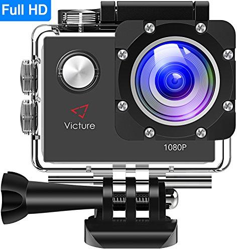 Victure Actioncam Full HD 1080P 12MP 170° Weitwinkel wasserdichte Aktionkameras Unterwasserkamera Sport Action Camera mit 1050mAh Batterie 20+Kostenlose Zubehör Kits