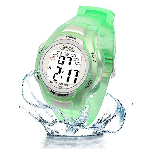 ragazzi orologi digitali, bambini sport impermeabile orologio con sveglia/cronometro/EL Light, blu per bambini all' aperto orologio digitale per adolescenti Ragazzi (verde)