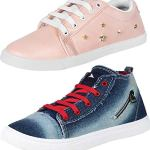 WORLD WEAR FOOTWEAR Women's Multi-Coloured Canvas Casual Shoes/Sneakes/Moccasins - Pack of 2 (Combo-(2)-766-743)