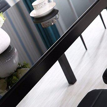 Modernes-Esstisch-Set-Marmor-Glas-Imitation-Sthle-mit-Kunstlederbezug