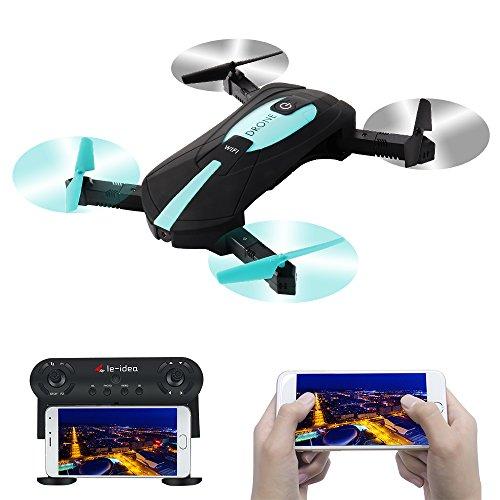 LE-IDEA RC WiFi FPV Quadcopter 2.4G Braccio Pieghevole Mini Selfie Drone con Fotocamera da 2 MP