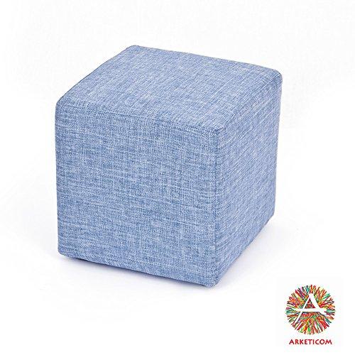 Arketicom Cube Pouf Poggiapiedi Salotto Puff CUBO TAPPEZZATO Jeans Denim 35x35
