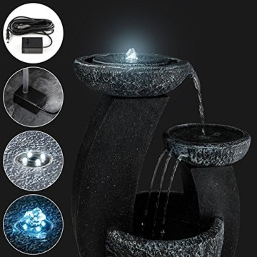 Blumfeldt Fantaghiro Fuente Ornamental de jardín con Panel Solar (Efecto Piedra, poliresina, Juego de Agua 3 Niveles, diseño mágico, miniboma, iluminacion LED, para Interior o Exterior) 5
