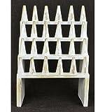 Grande Porta Anelli/Espositore a anelli (24Coni) in legno massiccio finitura bianco cérusé