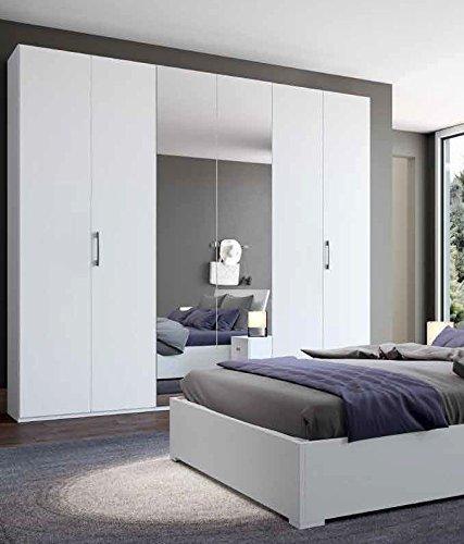 InHouse srls Armadio in Legno Bianco graffiato con 6 Ante (4 in Legno + 2 a Specchio) 240x53 236H.