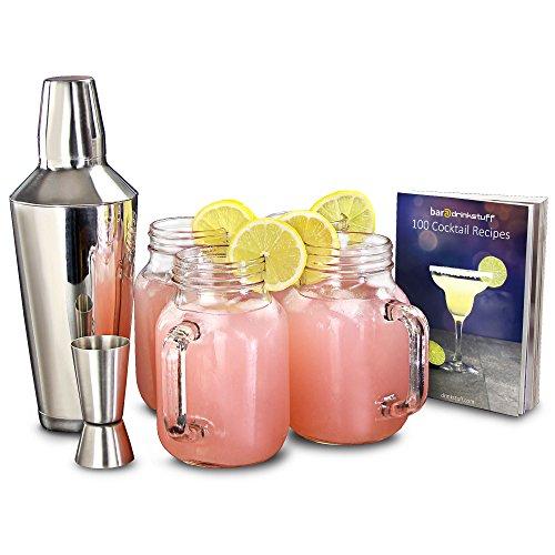 Mason Jar- Set di shaker per cocktail, barattolo di marmellata stile vintage, 4bicchieri e libro...