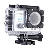 Andoer 4 K 1080P Wifi Cam 16MP Cámara 5,08 cm ULTRA-HD LCD 170°Wide Angular w/buceo 30 m Funda Impermeable, Pantalla de 2.0 inches,Color Plata