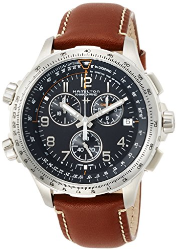 Hamilton Herren Chronograph Quarz Uhr mit Leder Armband H77912535
