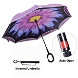 TravelEase Parapluie Inversé avec Bandes Réfléchissantes, Parapluie Inversé de Voiture Double Couche, Parapluie Debout avec Dépliage Automatique, Poignée en Forme de C (Purple Daisy)