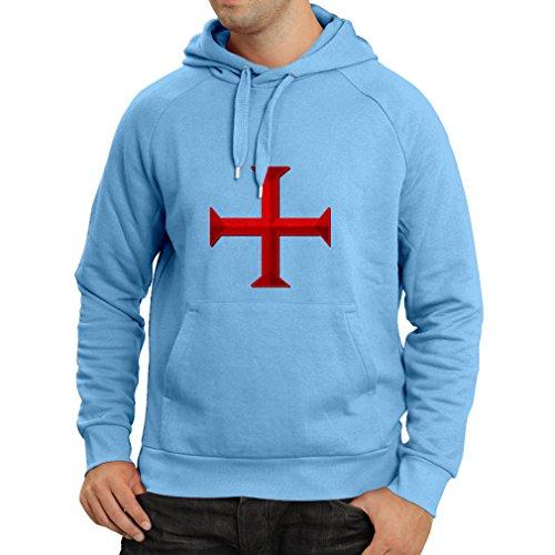 lepni.me Sudadera con Capucha El templarios - Cruz de Templar (Small Azul