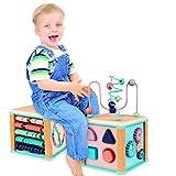 Ulmisfee Activité Cube Perle Labyrinthe Jouet Éducatif Cube Jouet Activité en Bois de pour Enfants et Bébés 1 2 3+ Ans(Couleurs aléatoires)