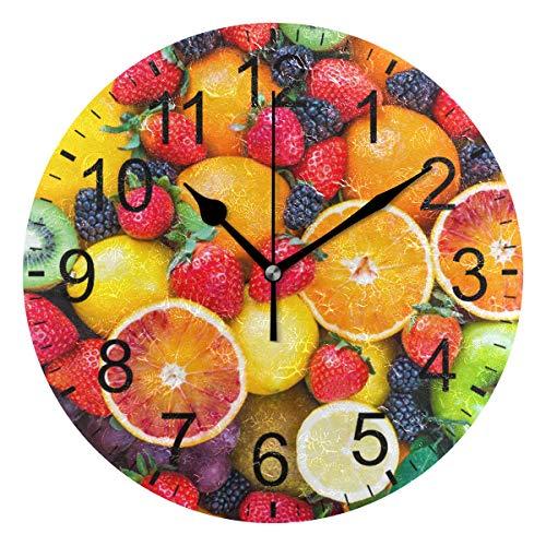 SENNSEE - Orologio da Parete Decorativo, con Frutta, Arancio, Limone, per Soggiorno, Camera da Letto, Cucina, Funzionamento a Batteria, per Decorare la casa