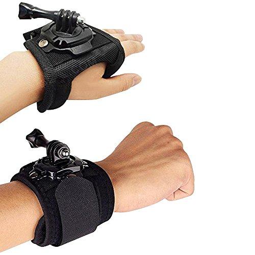 Cuitan Fotocamera Cinturino da Polso 360 Gradi Rotazione Regolabile Fascia da Polso Fascia da Braccio & Guanto-Stile Fascia per GoPro Hero 4 Hero 3+ Hero 3 Hero 2 Hero 1 Fotocamere (Nero)
