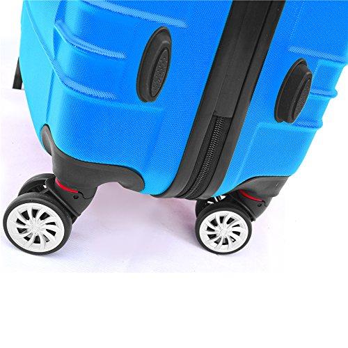 SHAIK SerieCLASSIC JFK Design Hartschalen Trolley, Koffer, Reisekoffer 4 Doppelrollen Zwillingsrollen, Zahlenschloss (Set, Dunkelblau) - 5