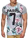 S!RPREME Hommes T-shirt Imprimé Floral Tee shirt Paris Hipster Fleur Polo tshirt Oversize Gris Clair XL