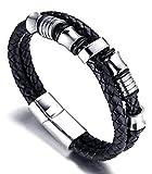 Zamac da uomo in vera pelle corda braccialetto intrecciato braccialetto in titanio, con perline oro e argento con libero Giftbox