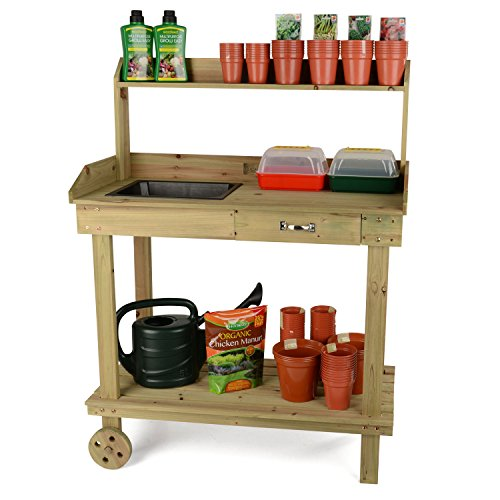 a  more affordable option, this table is perfectly designed for gardening. With a smooth worktop, two storage shelves and a drawer, wheels, and removable potting tray,