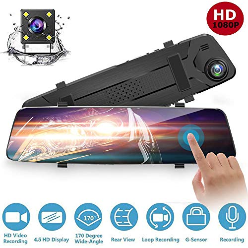 OOOUSE Mirror Dash Camera for Cars, 4.5'' Backup Camera 1080P Dual Dash Cam Front and Rear Stream Media Touch Screen DVR with G-Sensor, Waterproof Reversing Camera, Night Vision, 24H Parking Monitor
