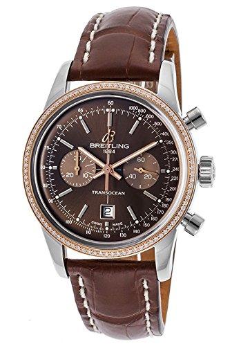Breitling Damen braun Krokodil Leder Band Stahl Fall S. Saphir Automatik Uhr u4131053-q600ls