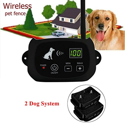 Wireless Dog Fence Waterproof Rechargeable Electric Dog Collar Containment 1-3 Dog System for Outdoor Dog Training (2 Dog System)