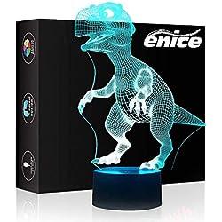 eNice Lámpara de ilusión 3D de dinosaurio, 7 colores cambiantes, luz nocturna LED con interruptor táctil, USB o batería, lámpara de mesa para dormitorio o escritorio, para niños y adultos