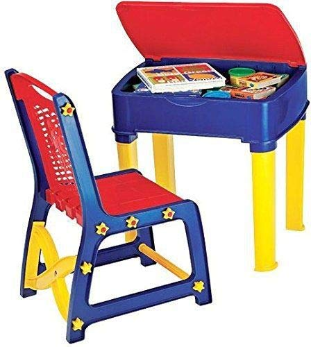 TruGood Kid's Learning Activity Wooden Study Table and Chair Set (Red and Blue)