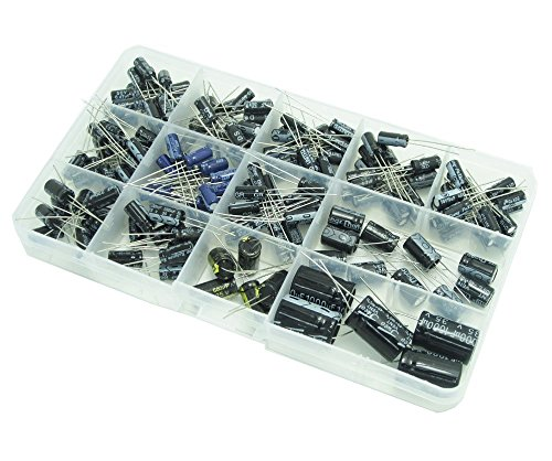 WINGONEER® trademark Reg.NO:012678447Descrizione:Condensatori elettrolitici in alluminio Assorted Kit, da 0.47uF a 1000uF.13 Valori, Totale 200 Pezzi.Elenco:Capacità, tensione, dimensioni D x L (mm), quantità0.47 uF 50V 5 x 11 20 pezzi1 uF 50...