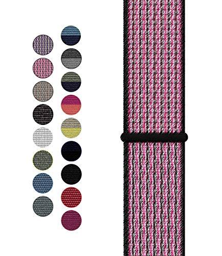 Wengerui Compatibile con Watch Cinturino 42mm/44mm, Nylon Cinturini di Ricambio per Series 5/Series 4/Series 3/Series 2/Series 1 (42mm/44mm, Nylon Rosa Scintilla/Mora)