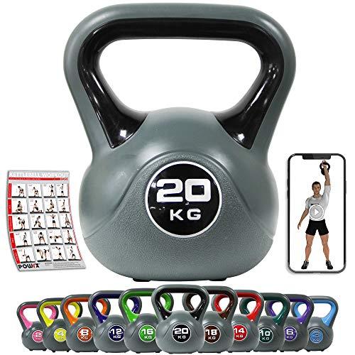POWRX Kettlebell 2-20 kg - Ideale per Esercizi di »Functional Fitness« - Base con Gommini...