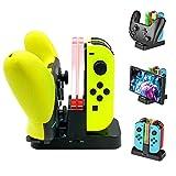 Station de Charge pour Nintendo Switch Manette Joy-Con et Pro, Chargeur pour Manette Joy-Con et Pro avec Indicateur LED et 1m Cȃble USB Type C