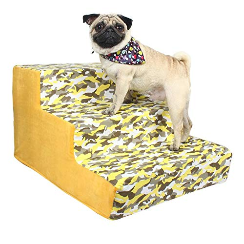 Douge Couture Dog/Cat Stairs/Ladder3 Steps Ramp Ladder Yellow Army Print