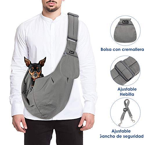SlowTon Transportín para Perros Pet Carrier Dog Cat Hand Sling Carrier Bandolera Correa de Hombro Acolchada Ajustable Tote Bag con Bolsillo Delantero Outdoor Travel Puppy Carrier (Gris)