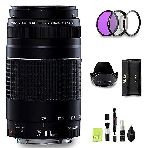 GYTE BUNDLE | Obiettivo Canon - EF 75-300mm f/4-5.6 III - Teleobiettivo per Fotocamera Digitale Reflex + 3 Pezzi Kit di Filtri + Paraluce + Kit di Pulizia | Pacchetto Accessori Premium