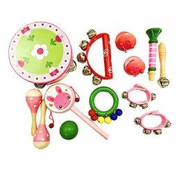 PAMRAY Strumenti Musicali Bambini Percussioni Legno Mini Ritmo Giocattoli 13 PCS Ragazze Ragazzi Mar