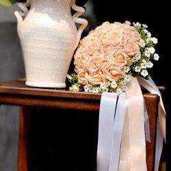 floristikvergleich.de neue hohe Qualität exquisit charmant Braut Blumen Strauß Brautstrauß super schöne Rose Hochzeit Bouquet Hochzeit Blumenstrauß mit Band Ribbons Künstliche Blumen Ball Wedding Bride holding flowers Kunstblumen, champagner