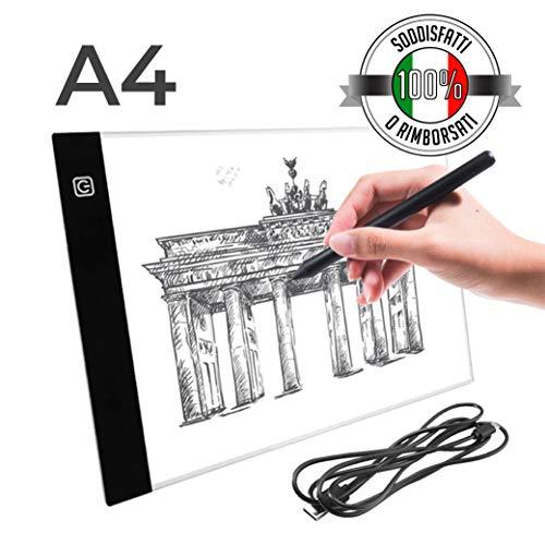 Sioco Lavagna Luminosa A4 | Light Pad Tavoletta Luminosa Grafica Professionale Ultra Sottile per...