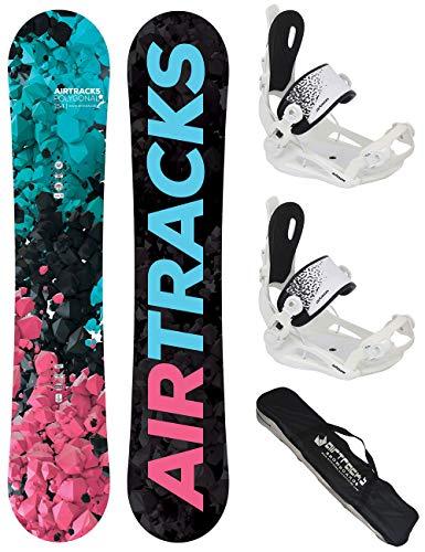 Airtracks Snowboard Set TAVOLA Polygonal Donna 148cm+ATTACCHI Master W M+Sacca/Nuovi