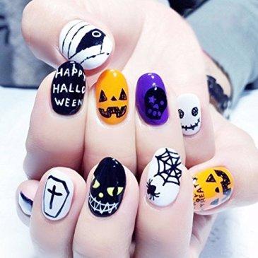 Jovono Femme complète Faux ongles Squelette humain Faux ongles pour fête d'Halloween