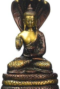 CraftVatika Figura de Estatua de Buda con Serpiente, bendición de Vitarka Buda bajo Serpiente, decoración para el hogar, Regalo