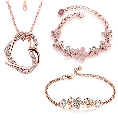 Om Jewells Immitation Jewellery Combo of 2 Designer Party Wear Rose Gold Adjustable Link Bracelets and 1 Heart in Heart Pendant for Girls and Women CO1000165