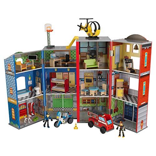 Kidkraft 63239 Set di Gioco in Legno per Bambini Everyday Heroes con Poliziotto, Elicottero e...