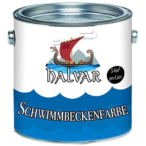 Halvar Schwimmbeckenfarbe skandinavische Poolfarbe Schwimmbadfarbe Schwimmbeckenbeschichtung in Blau Weiß Grün (2,5 L, Blau)