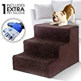 Masthome Hundetreppe mit Haustierhandschuh 3 Stufen Haustierbett Leiter für Hunde und Katzen bis zu 22,6 kg