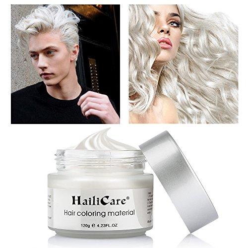 Cera Capelli, HailiCare 120g Crema Colorante per Capelli Colore Temporaneo Modellante Lunga Durata per DIY Colorare e Modellare Bianco