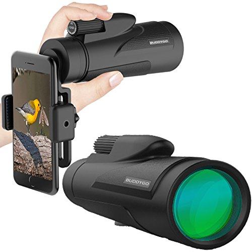 12X50 Monokular Teleskop,BUDDYGO HD Monokular mit mobilem Adapter & Stativ, Wasserdicht & Stoßfest, optimal geeignet für Camping, Vogelbeobachtung, Reisen, Garten, Natur, Tiere & auch für die Jagd