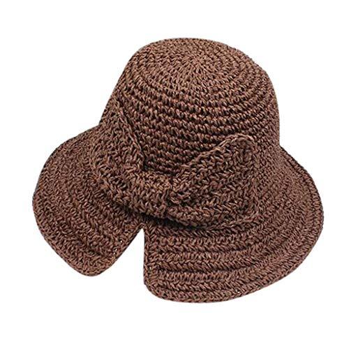 zarupeng✦‿✦ Sombrero de tejido de paja de Bowknot para mujer Raya Floppy Gorra de playa plegable Sombrero de sol hecho a mano
