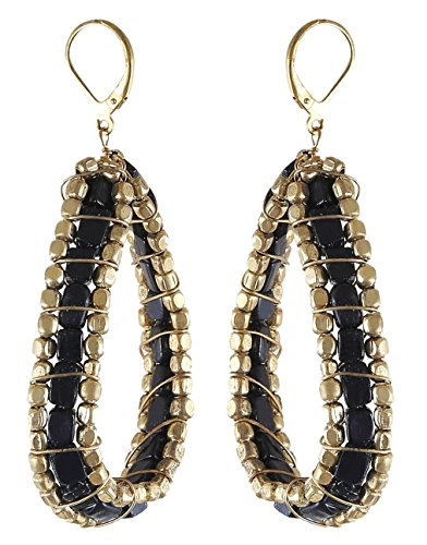 Arittra Alloy Tribal Design Stone And Metal Black Stone Golden Metal Earring in Antique Finish for Girls and Women-Valentine gift,todays,deal,party,casual,discount,offer,sale,clearance,lightning,festival,fashion,wedding,summer