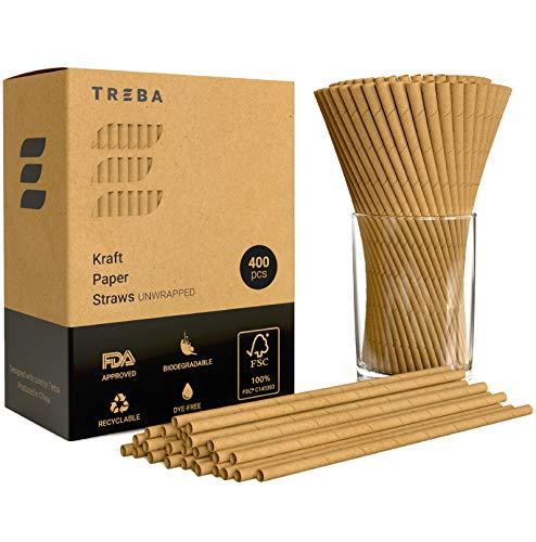 TREBA 400 Cannucce Biodegradabili di Carta Kraft per Bere Non Avvolte - Cannucce Monouso Senza Tinte...
