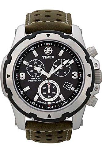 Timex T49626 Orologio Cronografo da Polso al Quarzo, Analogico, Uomo, Pelle, Nero/Verde